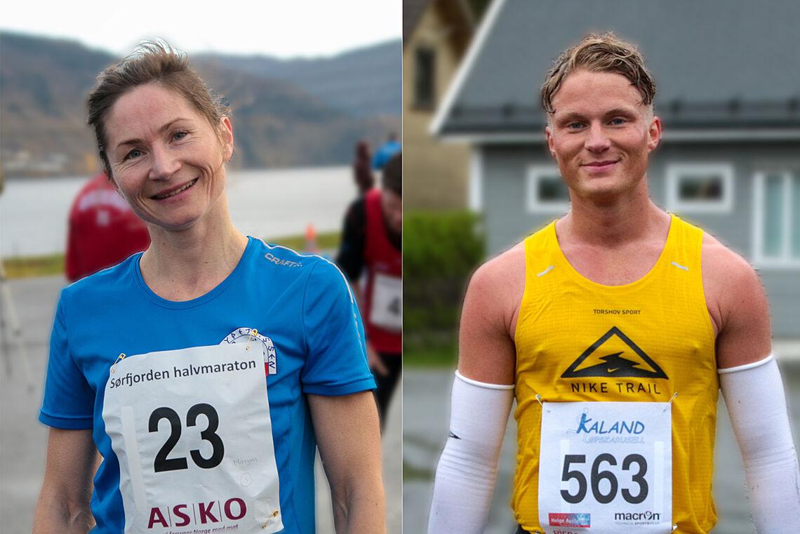Ingen kunne true Maryna Novik og Sondre Øvre-Helland i årets Haugesund Avis Halvmaraton. (Arkivfoto: Arne Dag Myking)