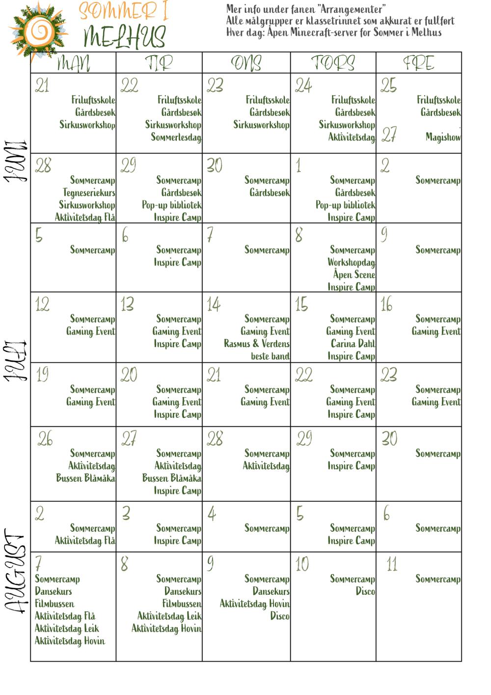 kalender sommer i Melhus