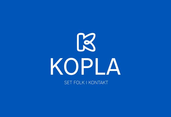 Logo for nettportalen Kopla, ein K på blå bakgrunn.