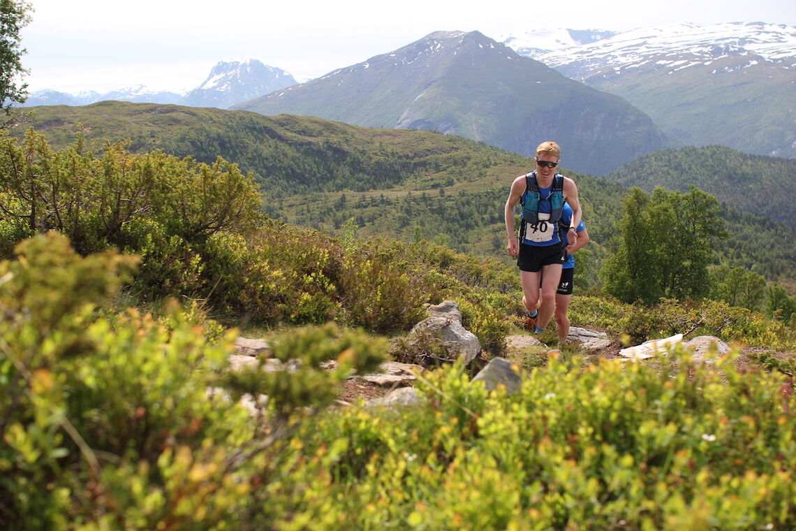 Halfdan Emil Færø fra Varegg, på vei opp Svinestranda. (Foto: Vidar Nyhammer)