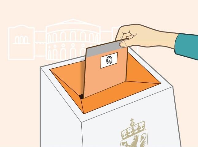 En tegnet illustrasjon av en hånd som putter en stemmeseddel i en urne.