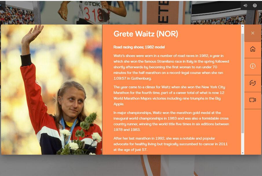 Grete Waitz vant maraton i tidenes første verdensmesterskapet i friidrett. Det ble arrangert i Helsinki i 1983.