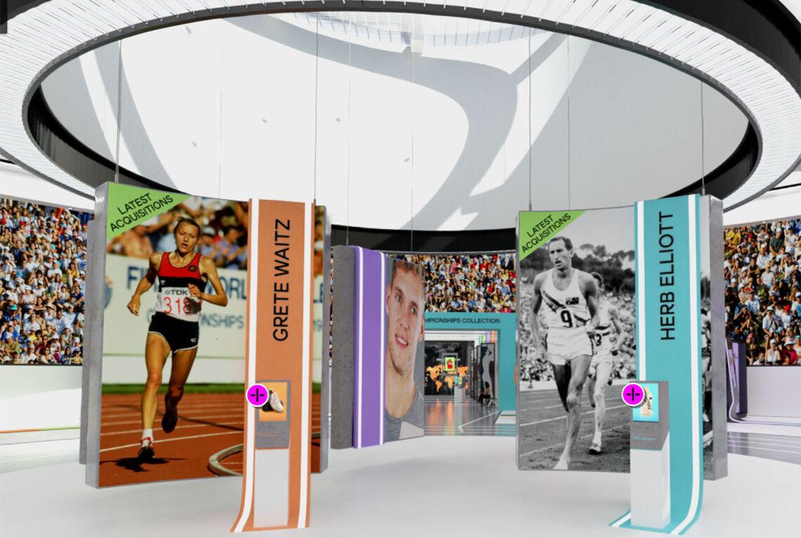 Grete Waitz er, sammen med Herb Elliott, den første vi blir møtt etter å ha gått inn på The Museum of World Athletics. (Alle foto: skjermbilder fra MOWA)