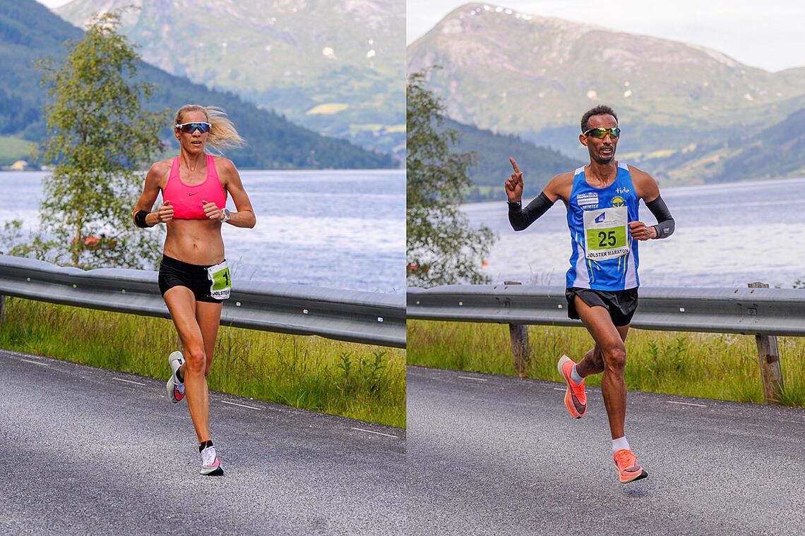 Silje Eklund og Ebrahim Abdulaziz løp seg inn til NM-titler på maratondistansen under Jølster Maraton. (Foto: Arne Dag Myking)