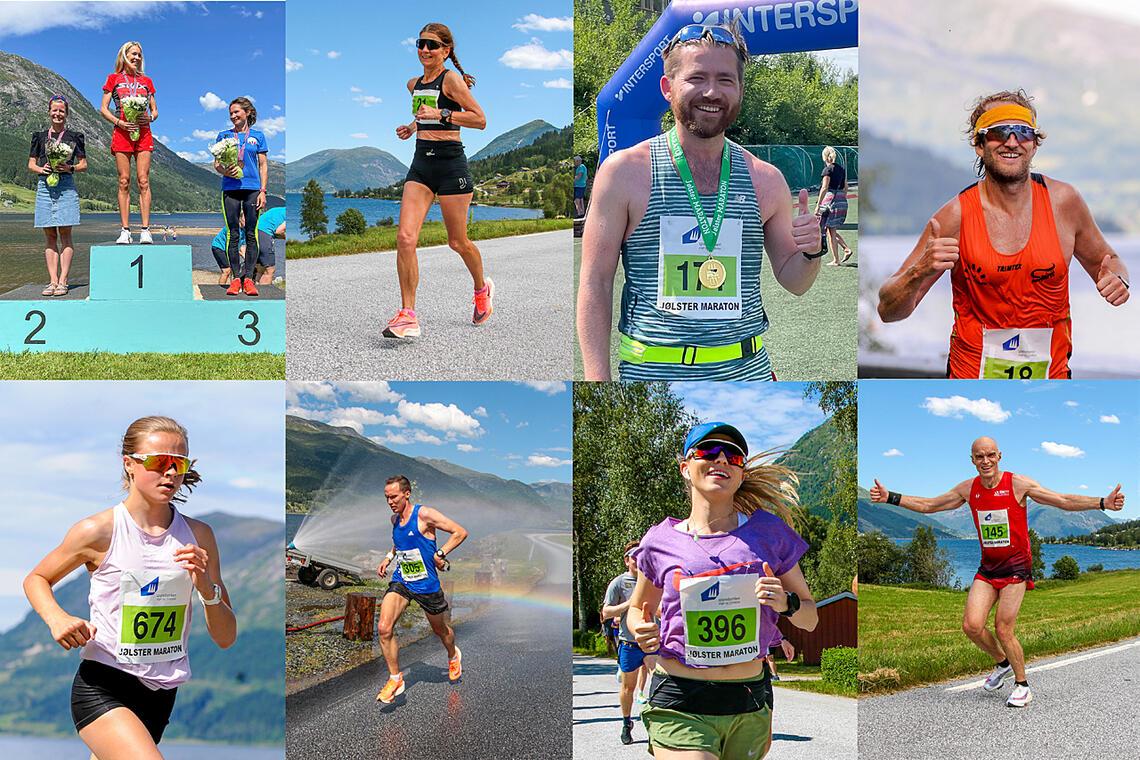 Det ble løpt både 10 km og hel- og halvmaraton under årets Jølstermaraton. Se alle bildene av deltakerne. (Fotomontasje: Arne Dag Myking)