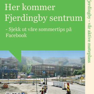 Her kommer Fjerdingby sentrum - plakat sommertips