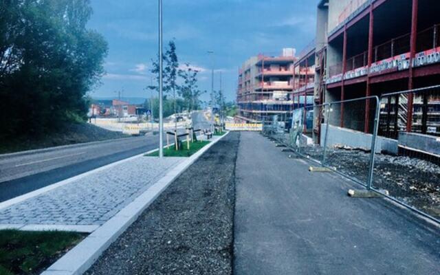 Miljøgate i Fjerdingby sentrum juli 2021