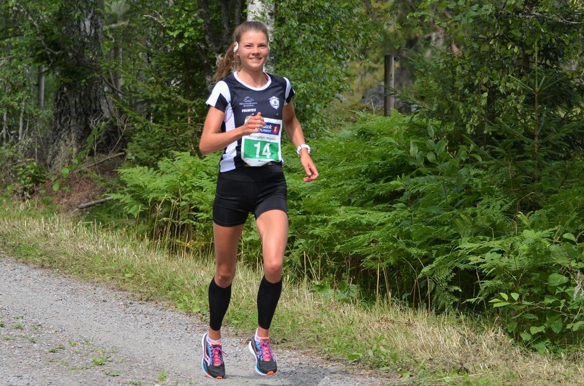 Maren Lie etter 36 km i sitt rekordløp på Kongsvinger. (Foto: Janne Slorafoss)