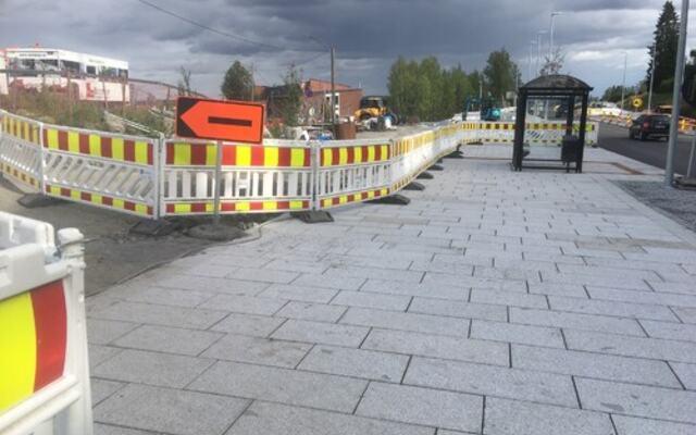 Infrastruktur arbeid pågår august 2021 Fjerdingby sentrum