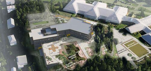 Illustrasjon nye Fjerdingby skole uteområder og plassering