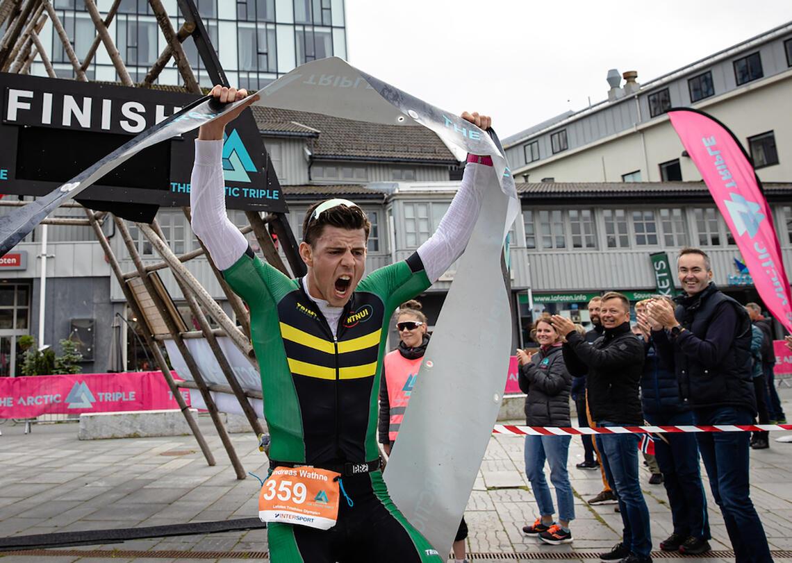 Andreas Wathne fra NTNUI triatlon gikk til topps i Olympic+ (Foto: Hallvard Kolltveit)
