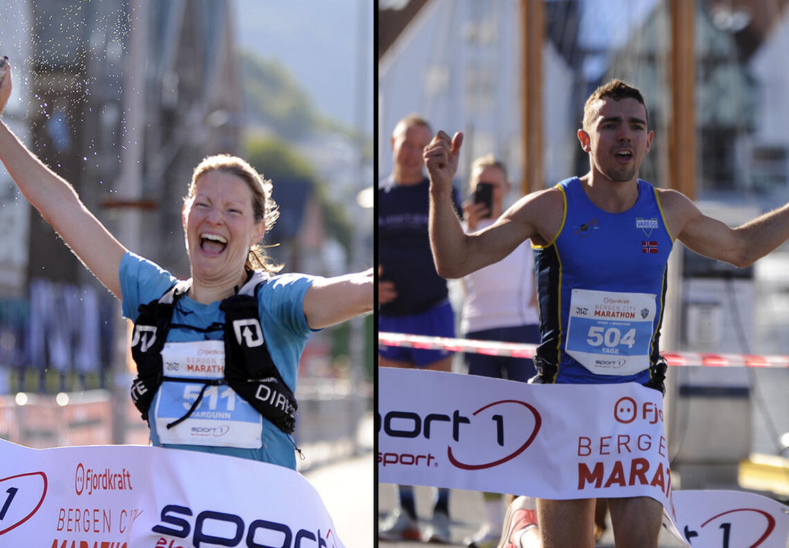 Det ble seiere til Tage Morken Augustson og Margunn Bye Tøsdal i strålende vær på Bergen City Maraton (Foto: Arne Dag Myking)