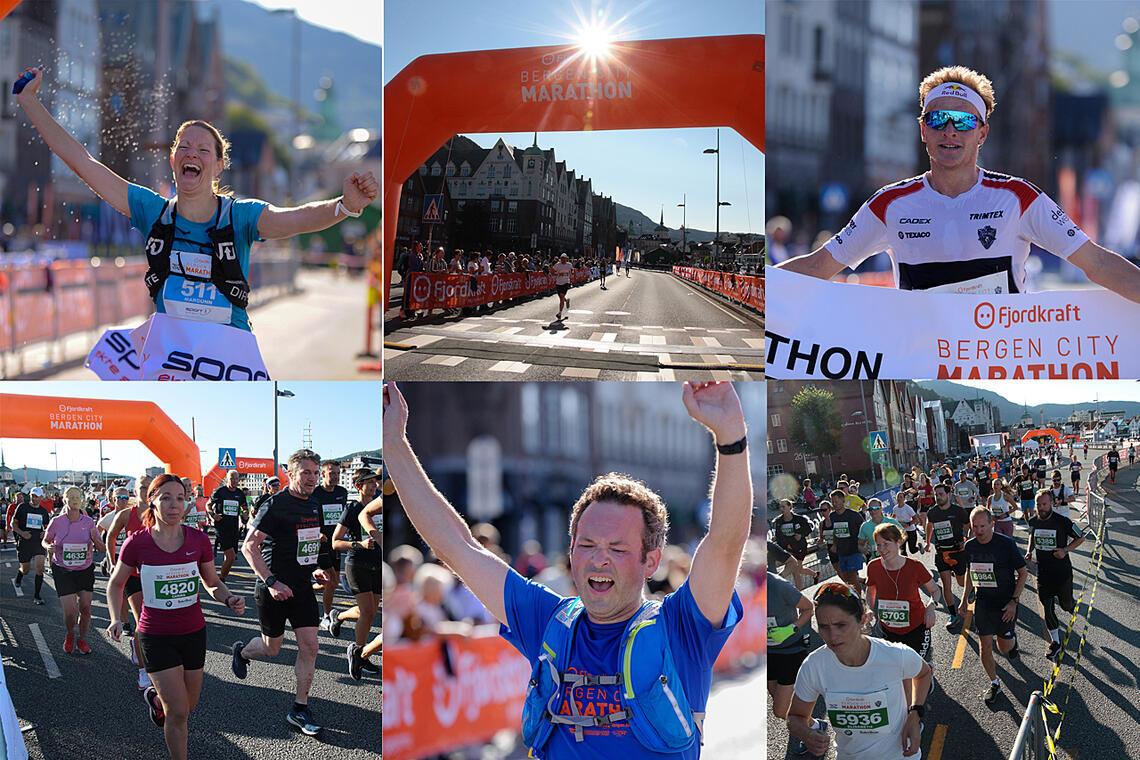 Det var nydelig og varmt sensommervær på Bergen City Marathon. Det var nærmere 5000 løpere i Bergens gater, fordelt på hel- og halvmaraton, 5 km og stafett. (Alle foto: Arne Dag Myking)