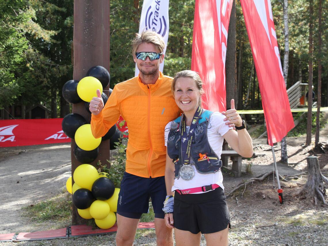 Lise Borgen-Johansen og Eirik Johannessen vant den sjette utgaven av Romeriksåsen på langs. (Foto: Olav Engen)