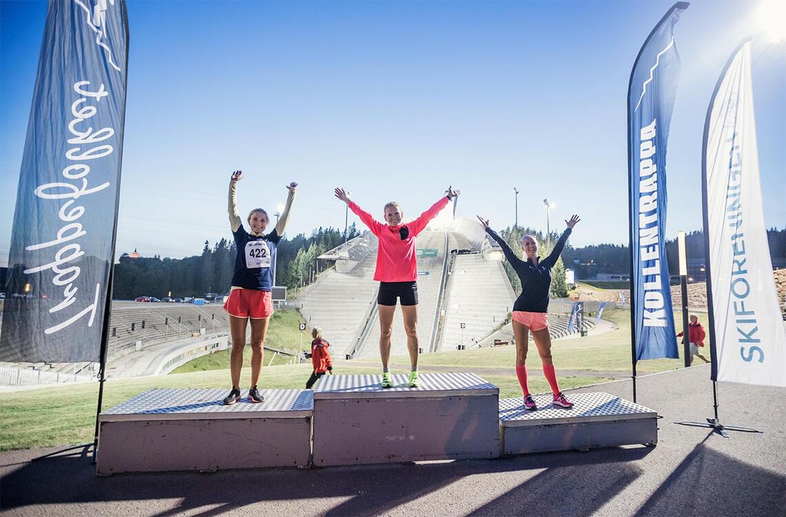 Karoline Kyte (midten) vant mens Anne Høyer (til venstre) ble nummer to og Linn Aanesland ble nummer tre. (Foto: Amando Abreu)