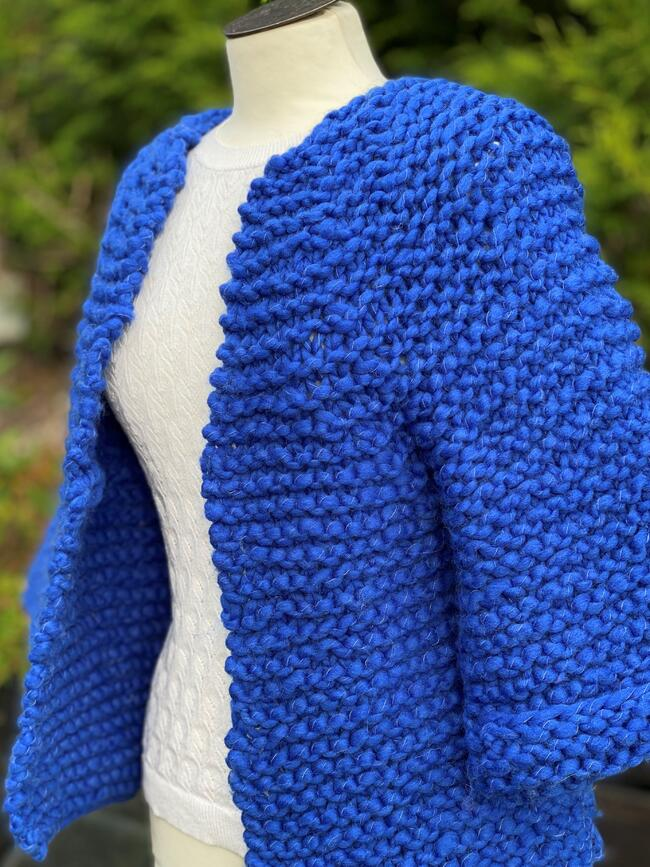 Blå kort jakke
