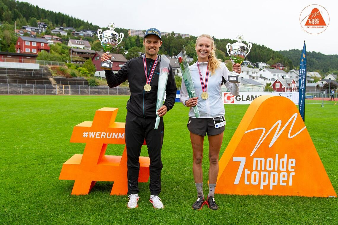 Tobias Dahl Fenre og Sylvia Nordskar vant NM terrengultra. (Foto: Daniel Kvalvik))