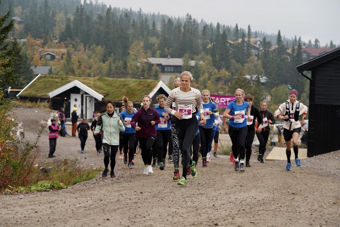 Fra starten på 13 km med 43 løpere i feltet. (Foto: Jonas Sjögren/Trysil)