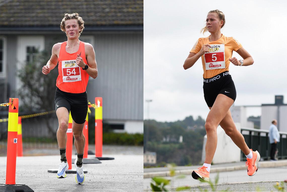 Adrian Westlie og Kamilla Bønøgård vant 10 km i Halden Byløp 2021. (Foto: Bjørn Johannessen)
