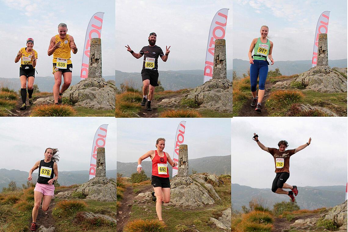 Løperne passerer et av løypens toppunkter. (Foto: Kjell Karstensen, bildemontasje: Arne Dag Myking).