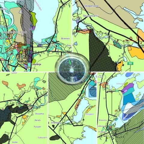 Arealplan fra stedene i Porsanger med kompass