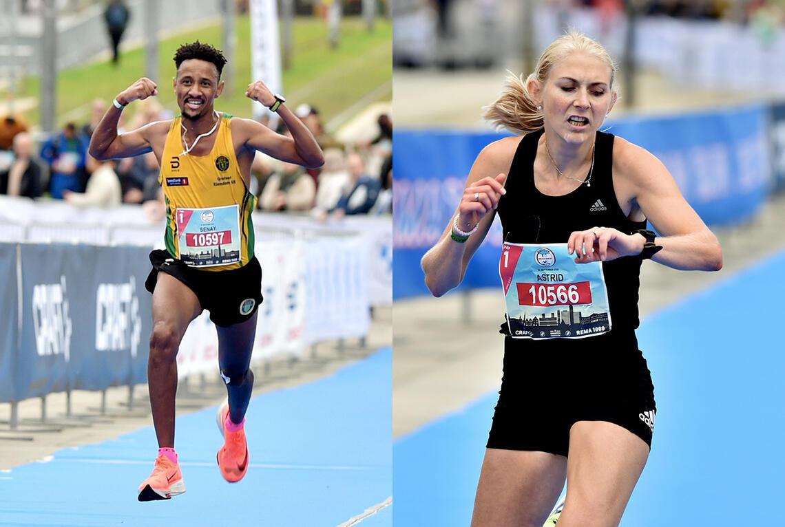 Senay Fissehatsion vant herreklassen og Astrid Brathaug Sørset kvinneklassen på 10 km under Oslo Maraton. (Foto: Anders Hoven/Oslo Maraton)