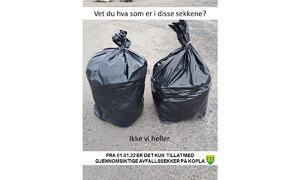 Vet du hva som er i sekkene? Ikke vi heller. 1.1-22 forbud for levering i sort restavfallssekk - Rakkestad kommune