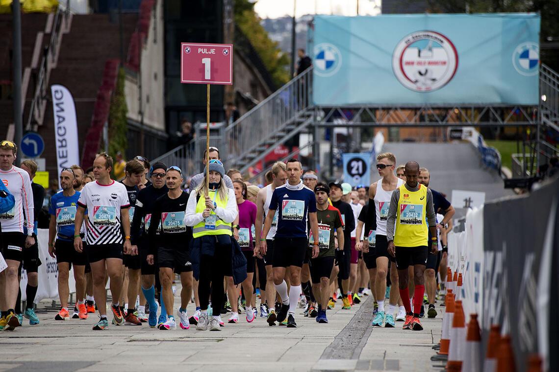 Klart for start i den 40. utgaven av Oslo Maraton. (Foto: Arvid Klokk)