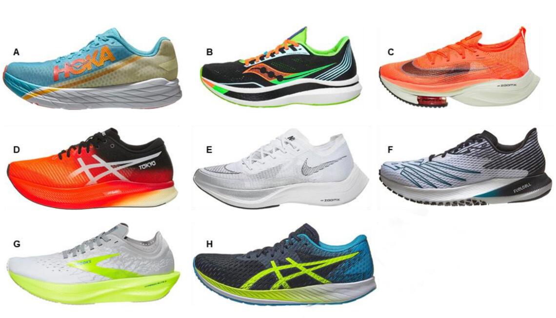 Bildet viser de åtte skomodellene som var med i undersøkelsen.