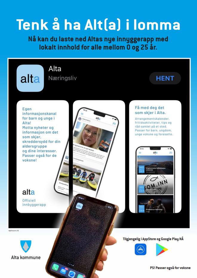 Plakat om appen