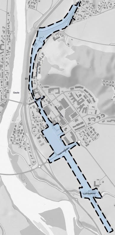 Planavgrensning for kryssningsspor Melhus sentrum