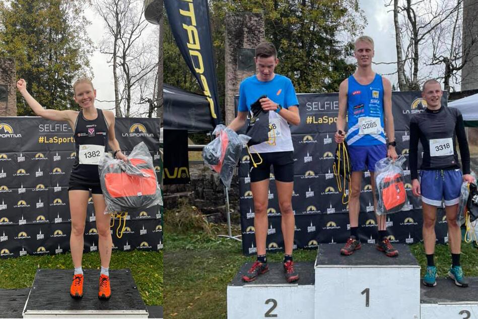 Karoline Holsen Kyte vant kvinneklassen. Premiepallen til høyre er fra puljen til vinner Anders Haga. Han er omkranset av Herman Brustad og Martin Jancus. (Foto: arrangørens FB-side).