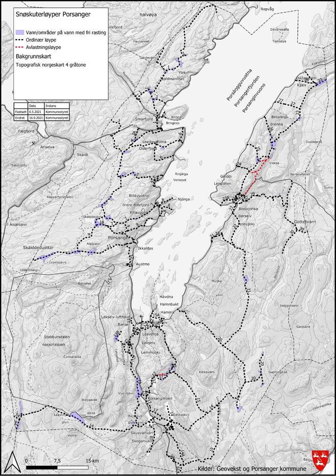 Kart over snøskuterløyper i Porsanger-1