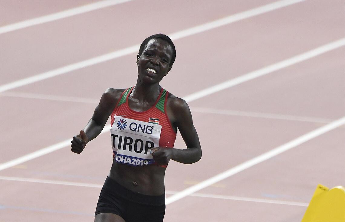 Agnes Tirop, her fotografert under VM i Doha i 2019, har gått bort. (Foto: Bjørn Johannessen)