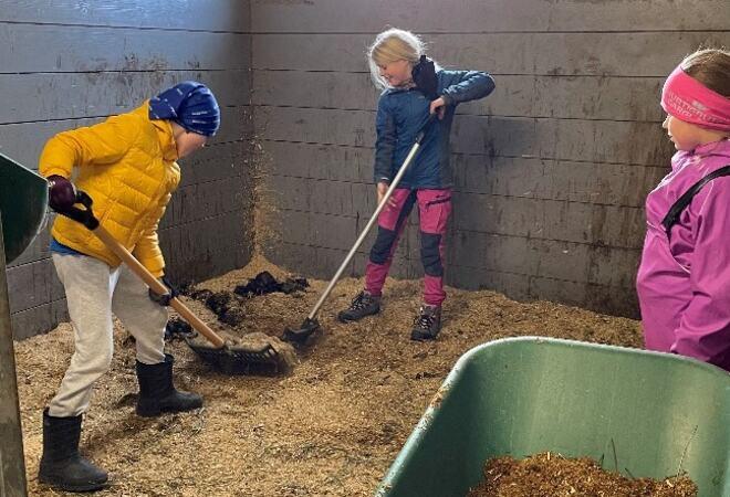 Tre barn rengjør i stall.